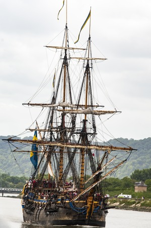 ROUEN, FRANCE - JULY Circa, 2016. End of the Armada in Rouen, boats galleon ships on the river Seine. Navy boat naval transportation. Very important International festival exhibition parade in France.