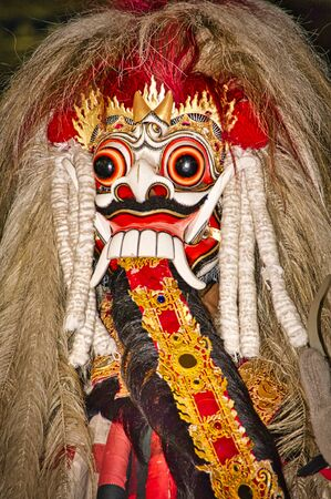 BALI, INDONESIA - FEBRUARY Circa, 2019. Barong the benevolent beast that scares bad spirits away. Tradtional dance and show.