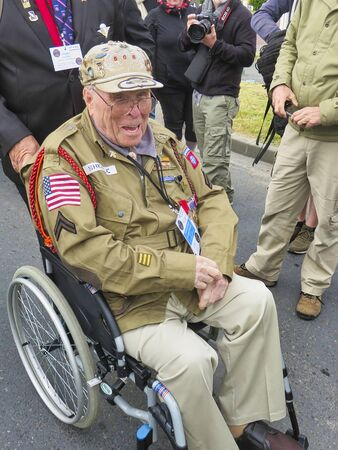 SAINTE MERE, NORMANDY, FRANCE - JUNE 06, 2019. D Day 75 birthday of french liberation by allied countries. Ceremony to remind what american, british, canadian soldiers did during world war two. Old veteran who participated to liberation