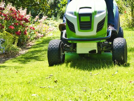 Senior man 75 old years driving a tractor lawn mower in garden with flowers. Green and white ride on mower, turning in field between colorful flowers
