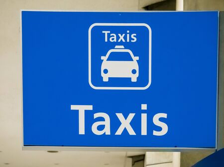 Blue taxi sign board at Paris airport, France Stockfoto
