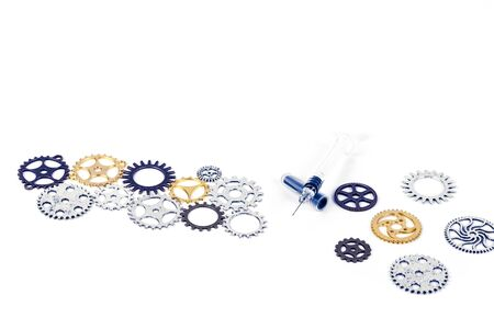 Cog gear wheels with syringe vaccine in the middle. Mechanism concept to illustrate social distancing, vaccine, treatment, to stop coronavirus infection and lockdown. On white background