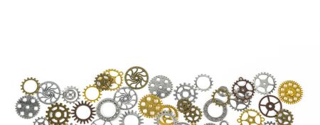 Cog gear wheels. Mechanism concept to illustrate social distancing, vaccine, treatment, to stop coronavirus infection and lockdown. On white background
