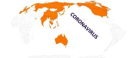 Text phrase Coronavirus on world map with orange countries infected by virus, on white background. Copy space.