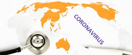 Text phrase Coronavirus on world map with orange countries infected by virus, on white background. Copy space. With stethoscope. Panoramic size