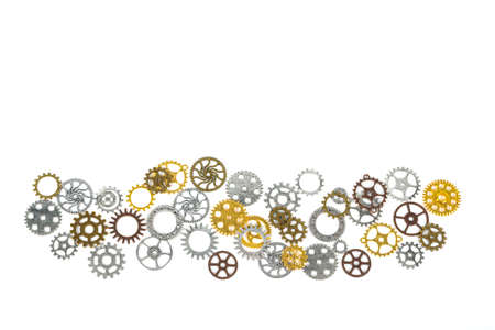 A large group of rusty transmission gears linked together on a white background. Transmission teamwork concept