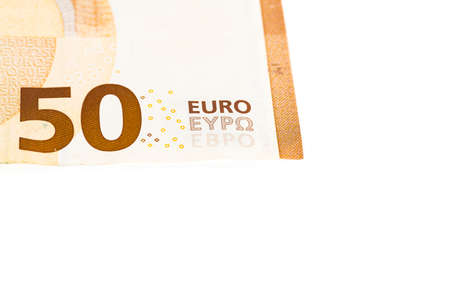 fifty euro banknotes on white background. France. Place for text