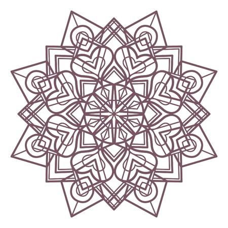 Line art di mandala progettato per la colorazione