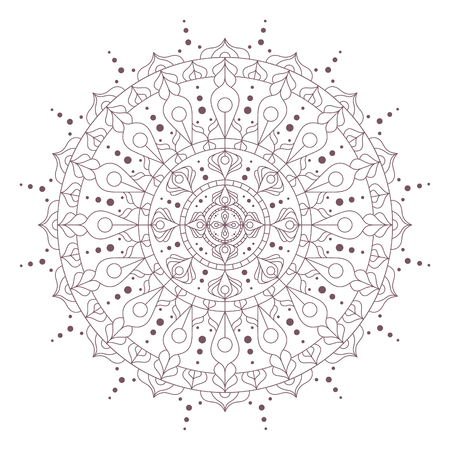 Line art of mandala designed for coloring