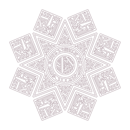 Line art of mandala designed for coloring 矢量图像