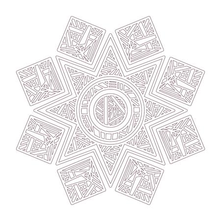 Arte lineal de mandala diseñado para colorear.