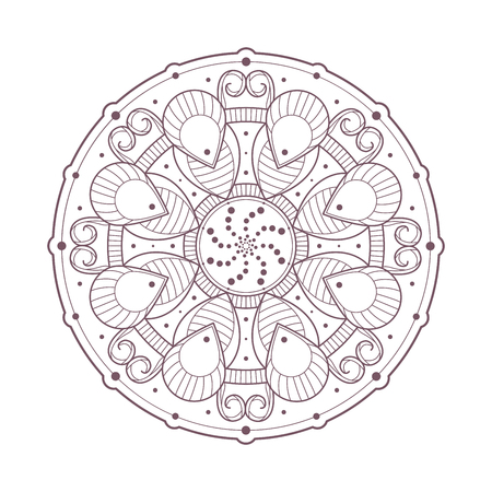 Line art of mandala designed for coloring Stock Illustratie
