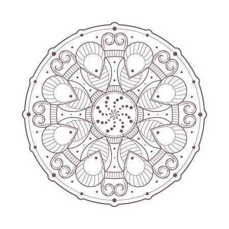 Line art of mandala designed for coloring Illustration