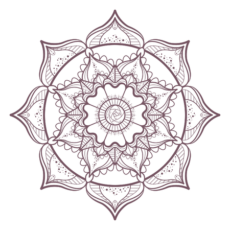 Line art of mandala designed for coloring  イラスト・ベクター素材