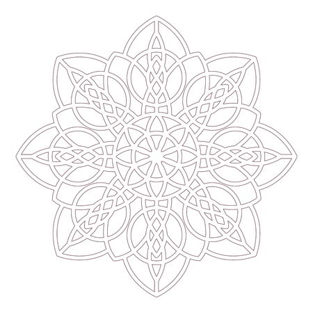 Line art of mandala with a celtic motif designed for coloring