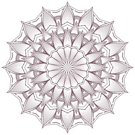 Circular intricate mandala design for coloring