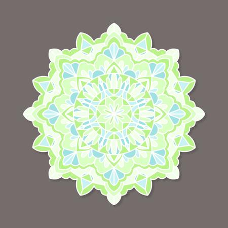 Isolated colorful lineless indian mandala