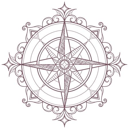 Mandala circular con motivo de brújula diseñado para colorear