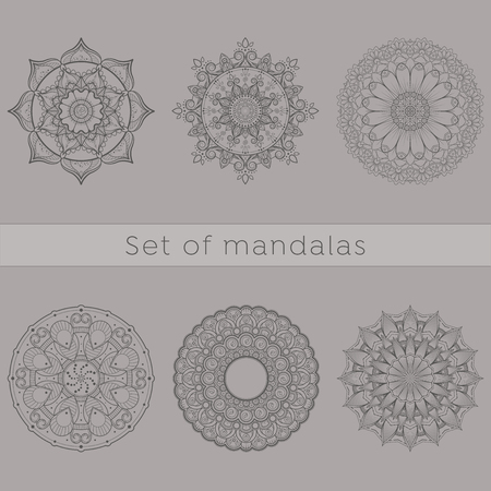 Collection of six intricate designs of mandala useful for coloring pages and books