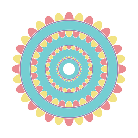 Simple design of colored mandala useful for coloring pages and books and as a decoration in any form  イラスト・ベクター素材