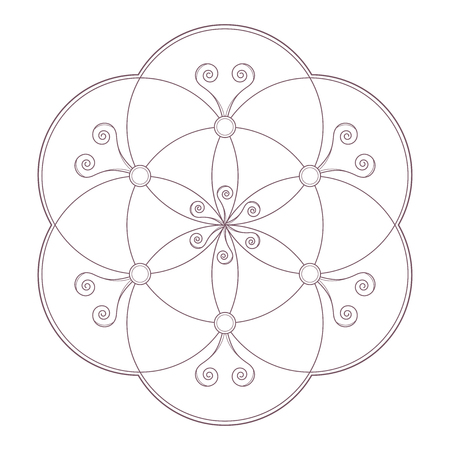 Simple design of mandala useful for coloring pages and books Illustration