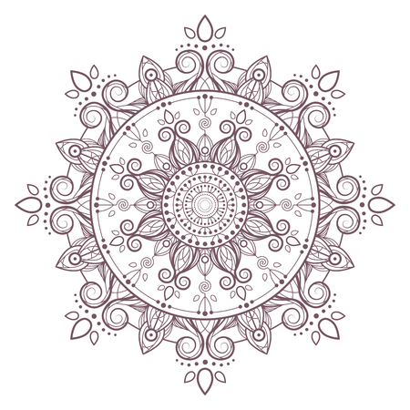 Circular intricate mandala design for coloring