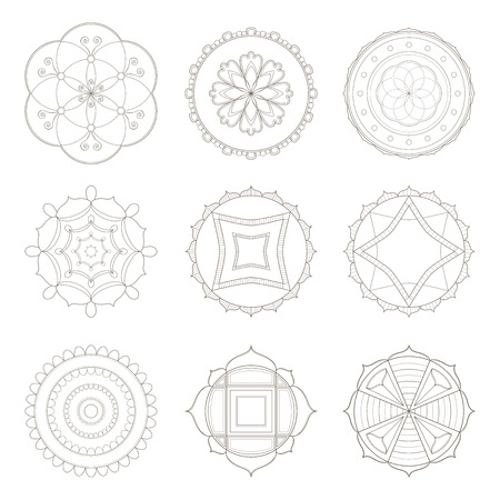Collection of nine simple designs of mandala useful for coloring pages and books