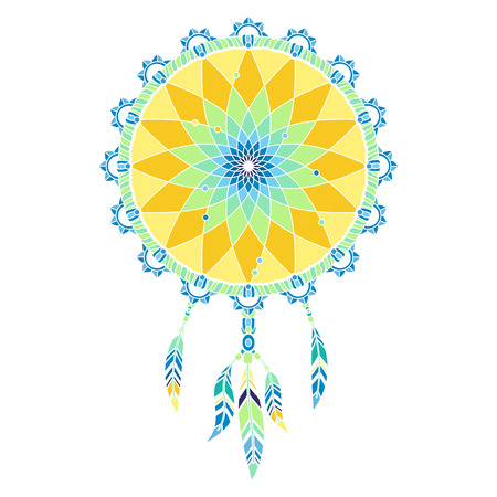 Isolated multicolored dream catcher with feathers on white background Vectores