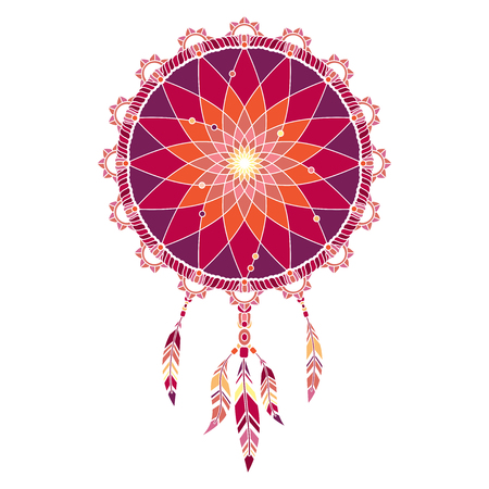 Isolated multicolored dream catcher with feathers on white background Illustration