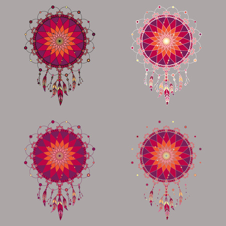 Isolated multicolored dream catchers with colorful feathers with various outlines