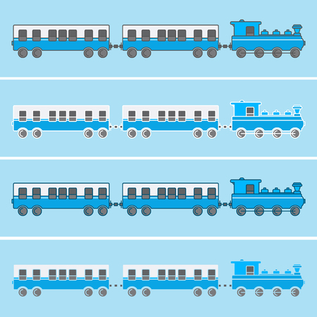 Train with two wagons in blue tones and various outlines