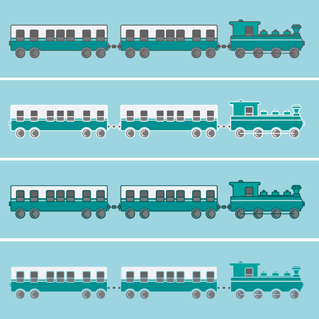 Train with two wagons in green tones and various outlines Illustration