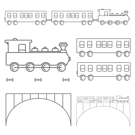 Outlines of train with two wagons and bridge