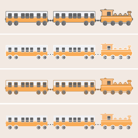 Train with two wagons in orange tones and with various outlines Illustration