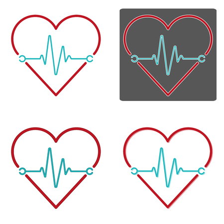 Flat design vectors of heartbeat in red and blue color