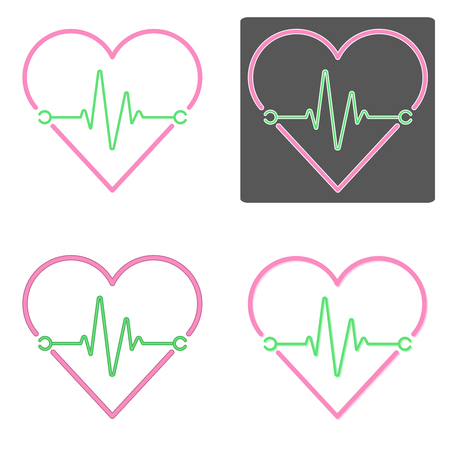 Flat design vectors of heartbeat in pink and green color