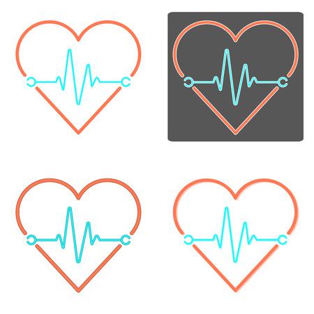Flat design vectors of heartbeat in orange and blue color Illustration