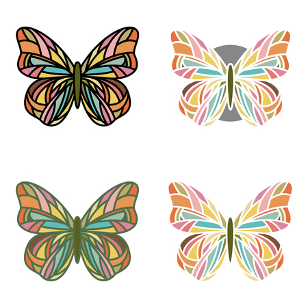 Collection of multicolored butterflies with four different line arts Illustration