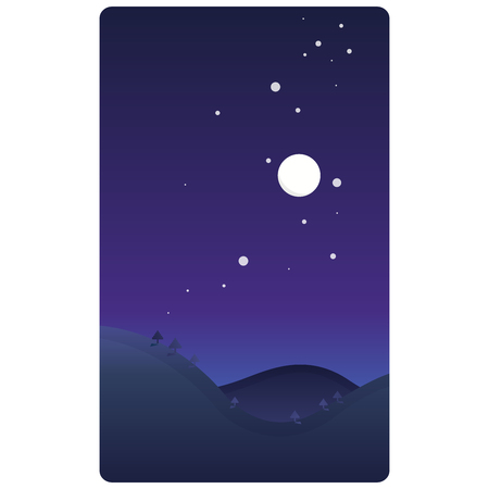 Simple design of a night landscape with moon, stars and trees in purple shades Stok Fotoğraf