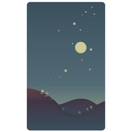 Simple design of a night landscape with moon, stars and trees