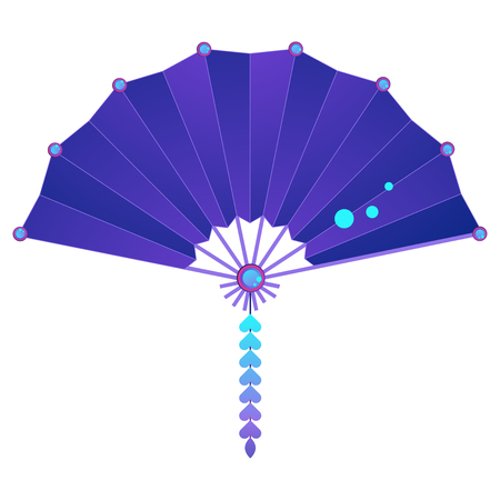 Colorful folding fan as geisha accessory isolated on white Banque d'images