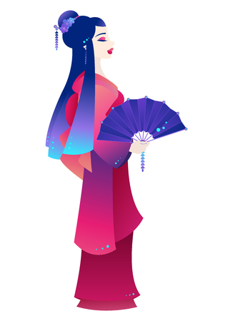 Illustration of a young Japanese woman dressed as a Geisha and holding a decorated fan