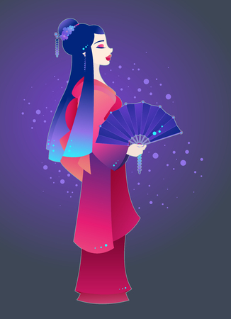 Outlined illustration of a young Japanese woman dressed as a Geisha and holding a decorated fan on colorful background