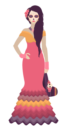 Vector illustration of a long haired woman dressed in Day of the Dead style with roses, necklace and holding a sombrero on white background
