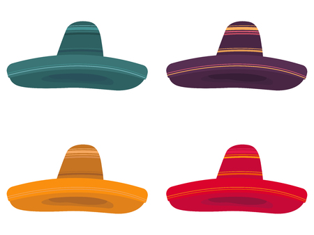 Set of four colorful illustrations of a sombrero on white background