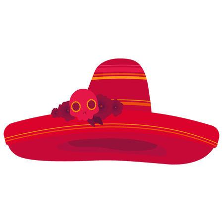 Colorful illustration of a sombrero decorated with roses and a skull in red tones on white background
