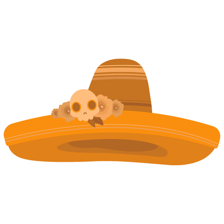 Colorful illustration of a sombrero decorated with roses and a skull in orange tones on white background Illustration
