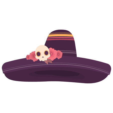 Colorful illustration of a sombrero decorated with roses and a skull in purple tones on white background Illustration