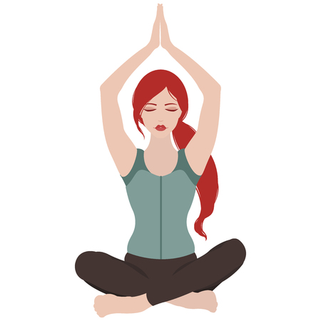 Illustration of a woman with closed eyes meditating in yoga lotus pose on white background Illustration