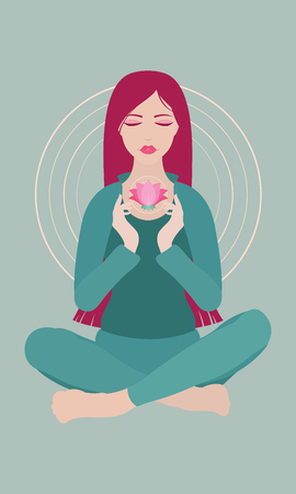 Illustration of a woman with closed eyes meditating in yoga lotus pose with a flower on colored background Illustration